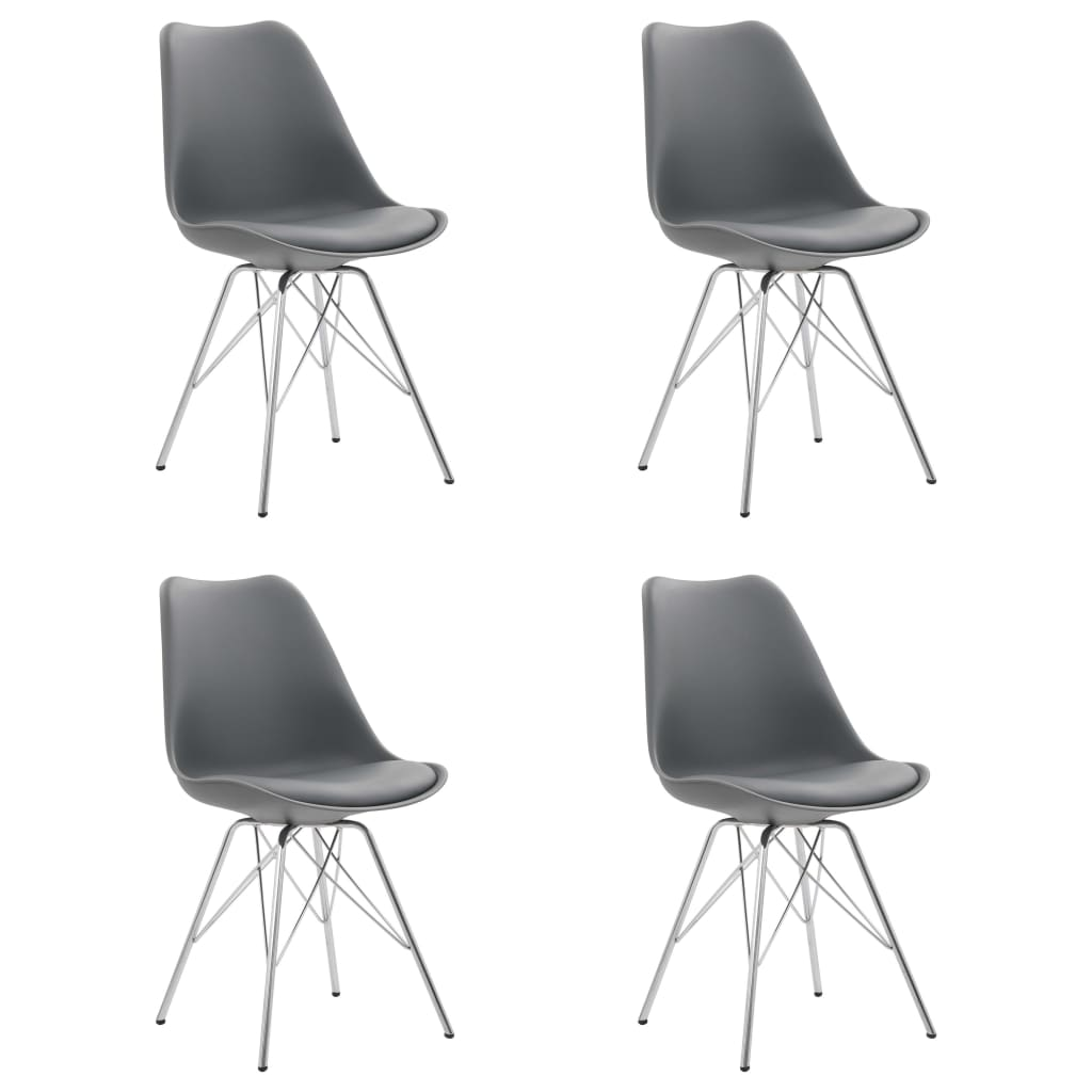 vidaXL Jedálenské stoličky 4 ks, sivé, umelá koža
