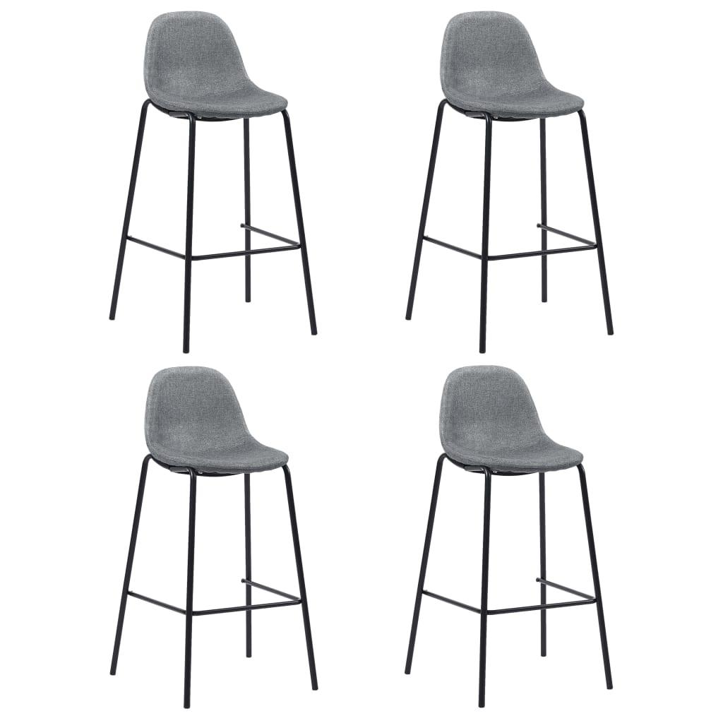 vidaXL Barové stoličky 4 ks, svetlosivé, látka