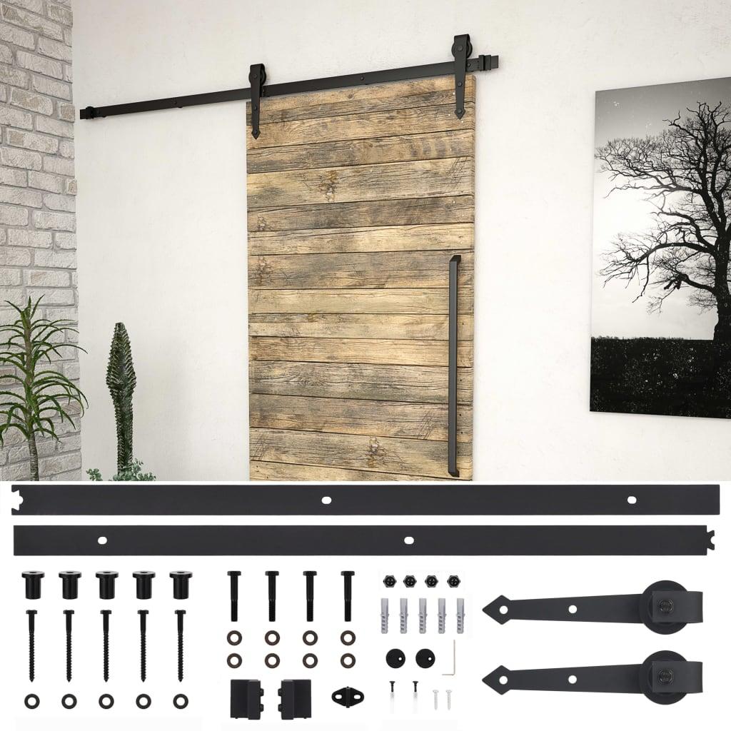 vidaXL Kovanie na posuvné dvere 200 cm, oceľ, čierne