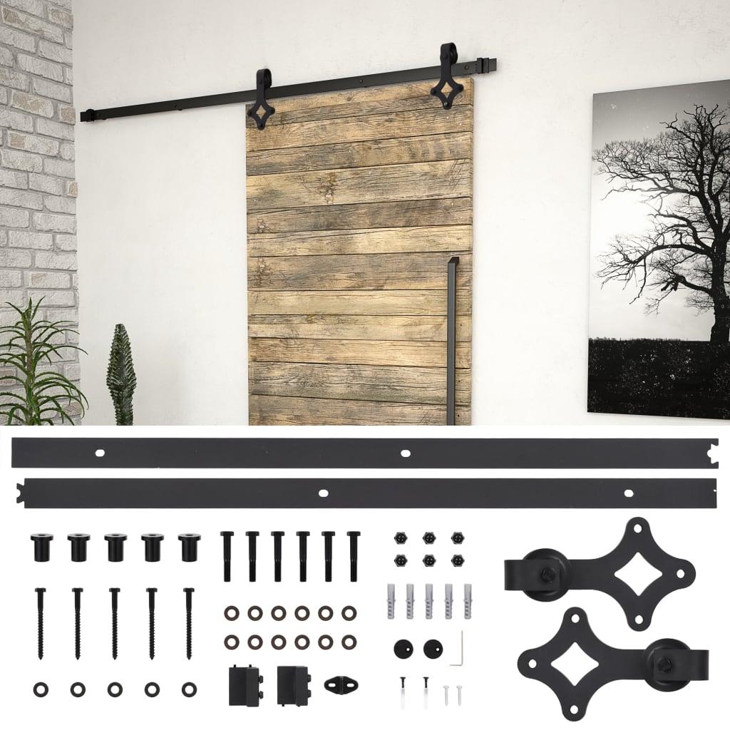 vidaXL Kovanie na posuvné dvere čierne 183 cm oceľové
