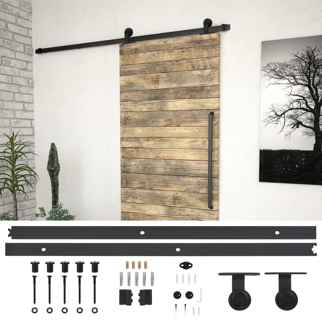 vidaXL Kovanie na posuvné dvere čierne 200 cm oceľové