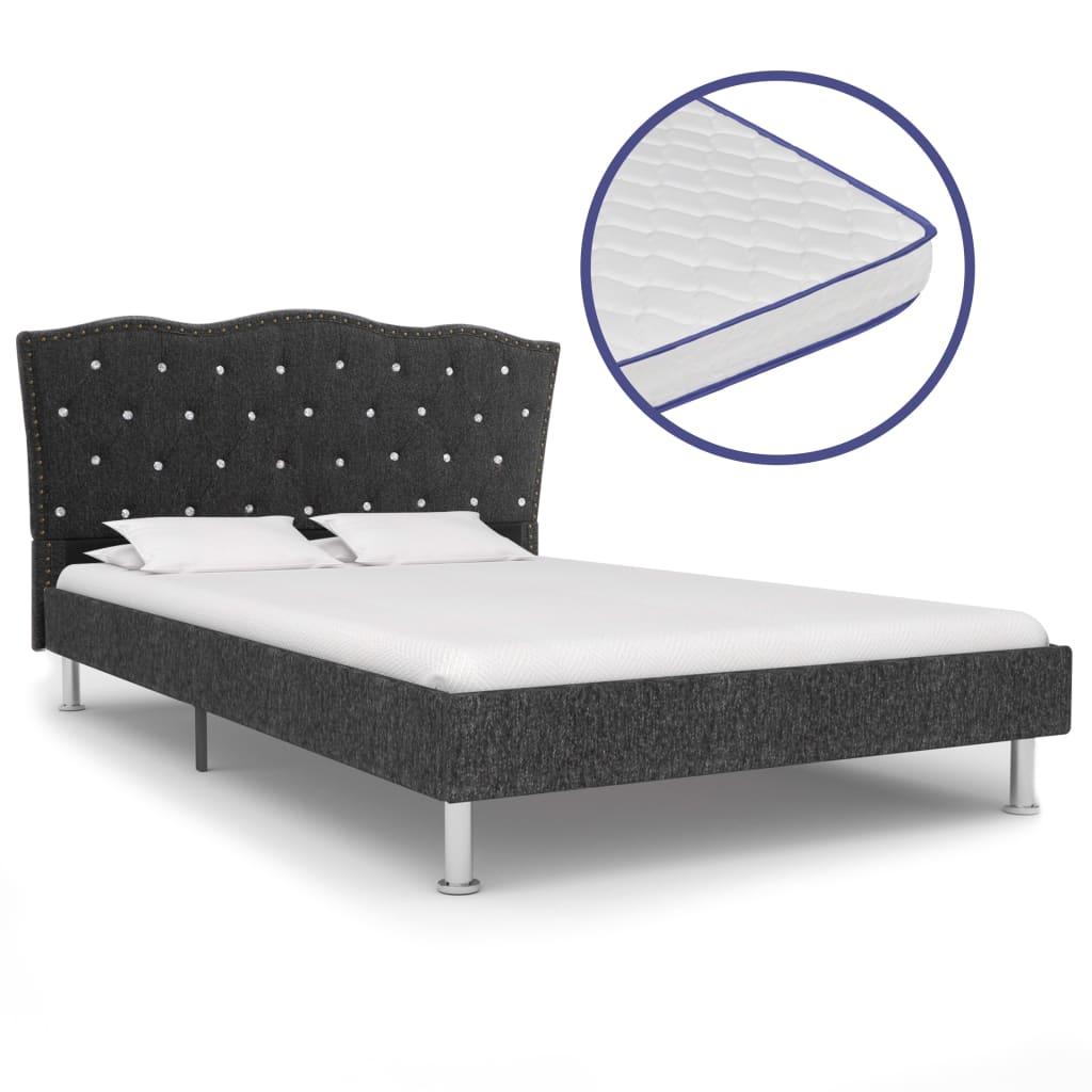 vidaXL Posteľ s matracom s pamäťovou penou tmavosivá 120x200 cm látková