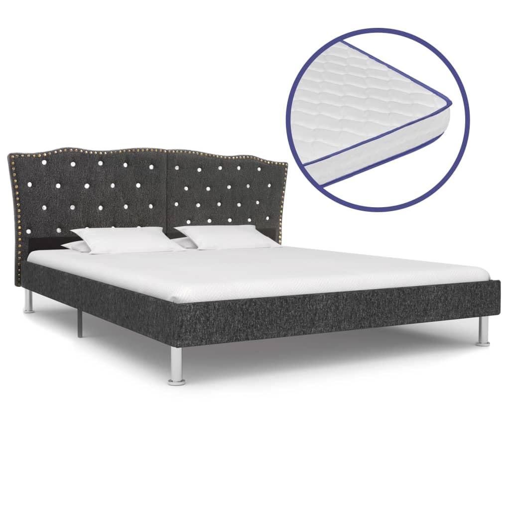 vidaXL Posteľ s matracom s pamäťovou penou tmavosivá 160x200cm látková