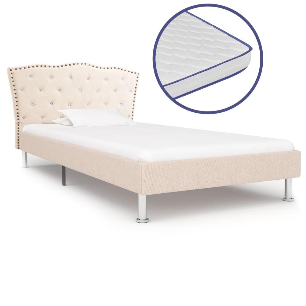 vidaXL Posteľ s matracom s pamäťovou penou béžová 90x200 cm látková