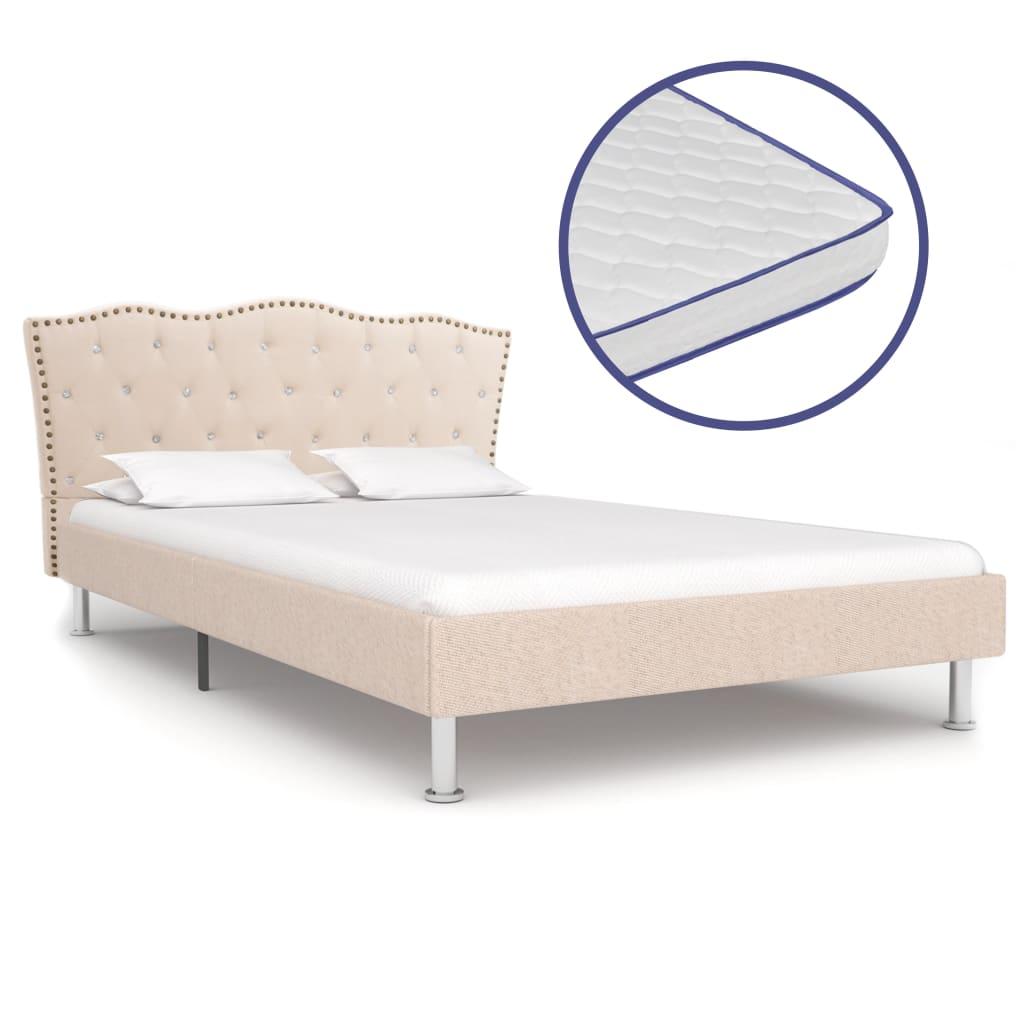 vidaXL Posteľ s matracom s pamäťovou penou béžová 140x200 cm látková