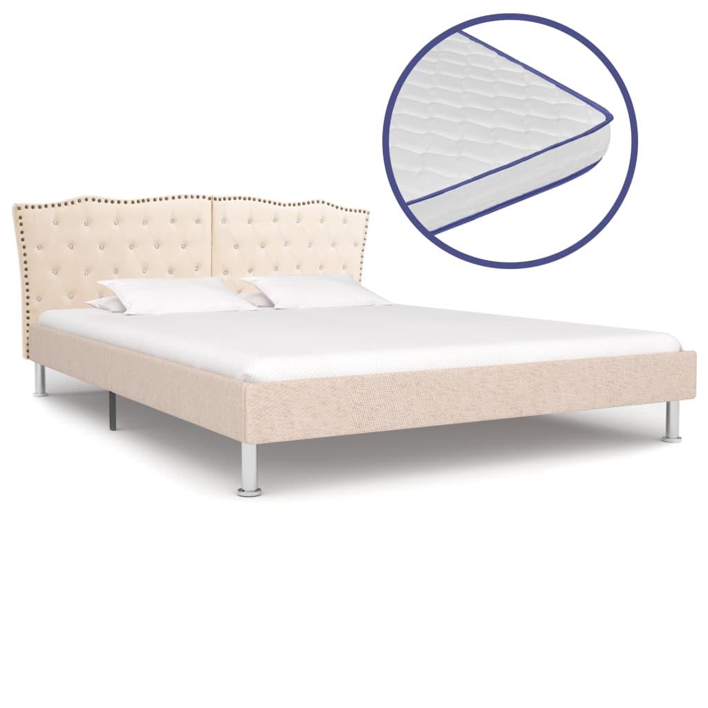 vidaXL Posteľ s matracom s pamäťovou penou béžová 180x200 cm látková