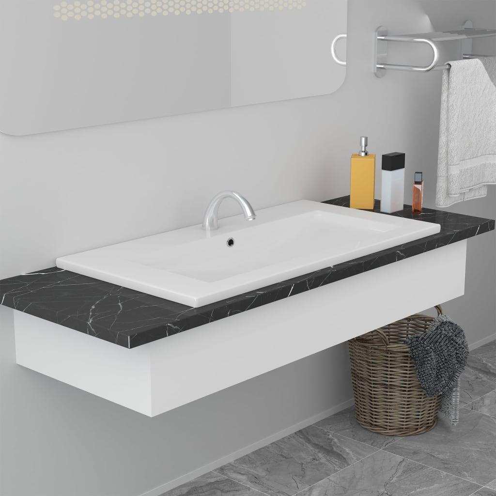 vidaXL Vstavané umývadlo 91x39,5x18,5 cm, keramika, biele