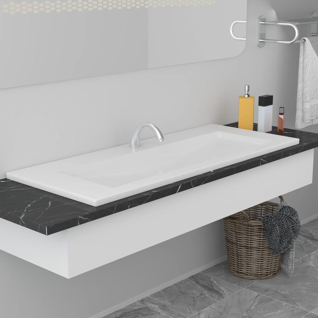 vidaXL Vstavané umývadlo 101x39,5x18,5 cm, keramika, biele