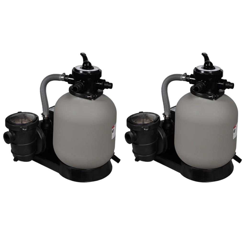 vidaXL Pieskové filtračné čerpadlá 2 ks 600 W 17000 l/hod