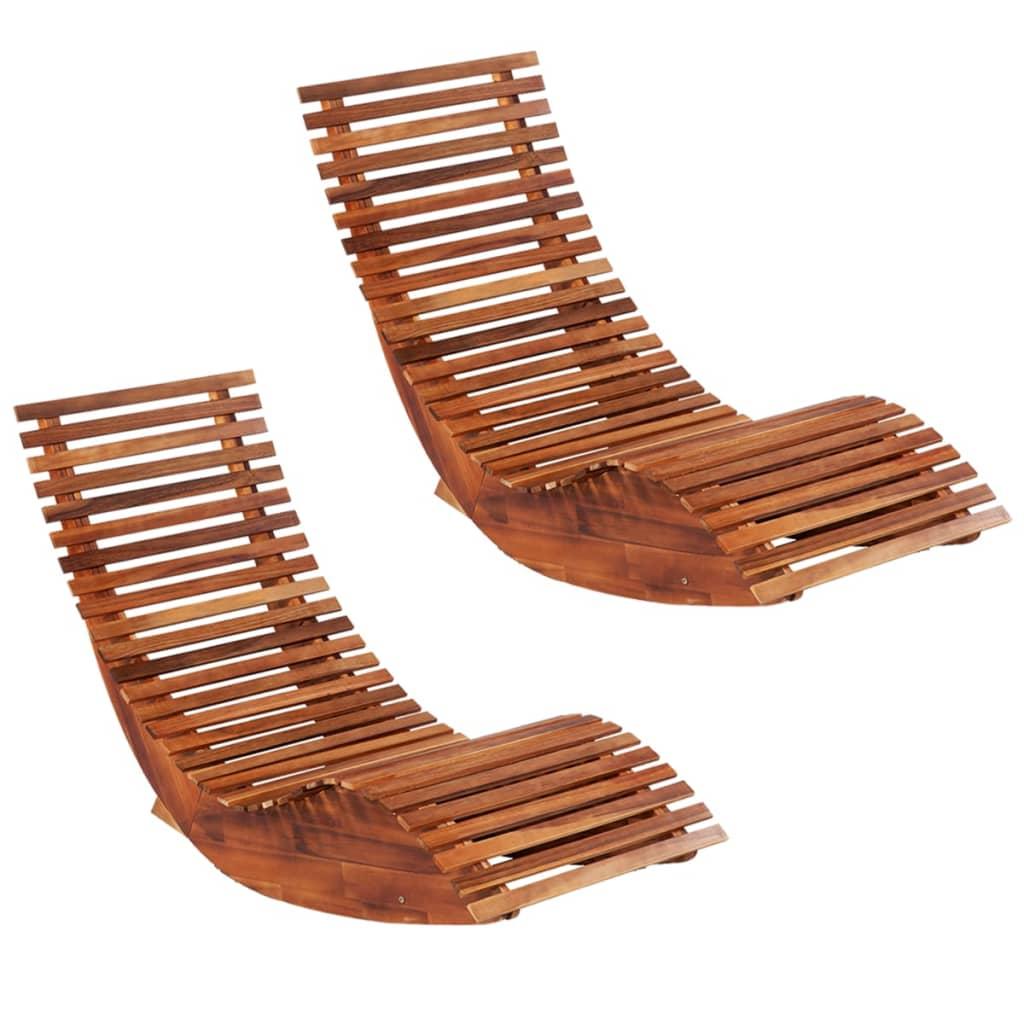vidaXL Hojdacie záhradné ležadlá z akáciového dreva 2 ks