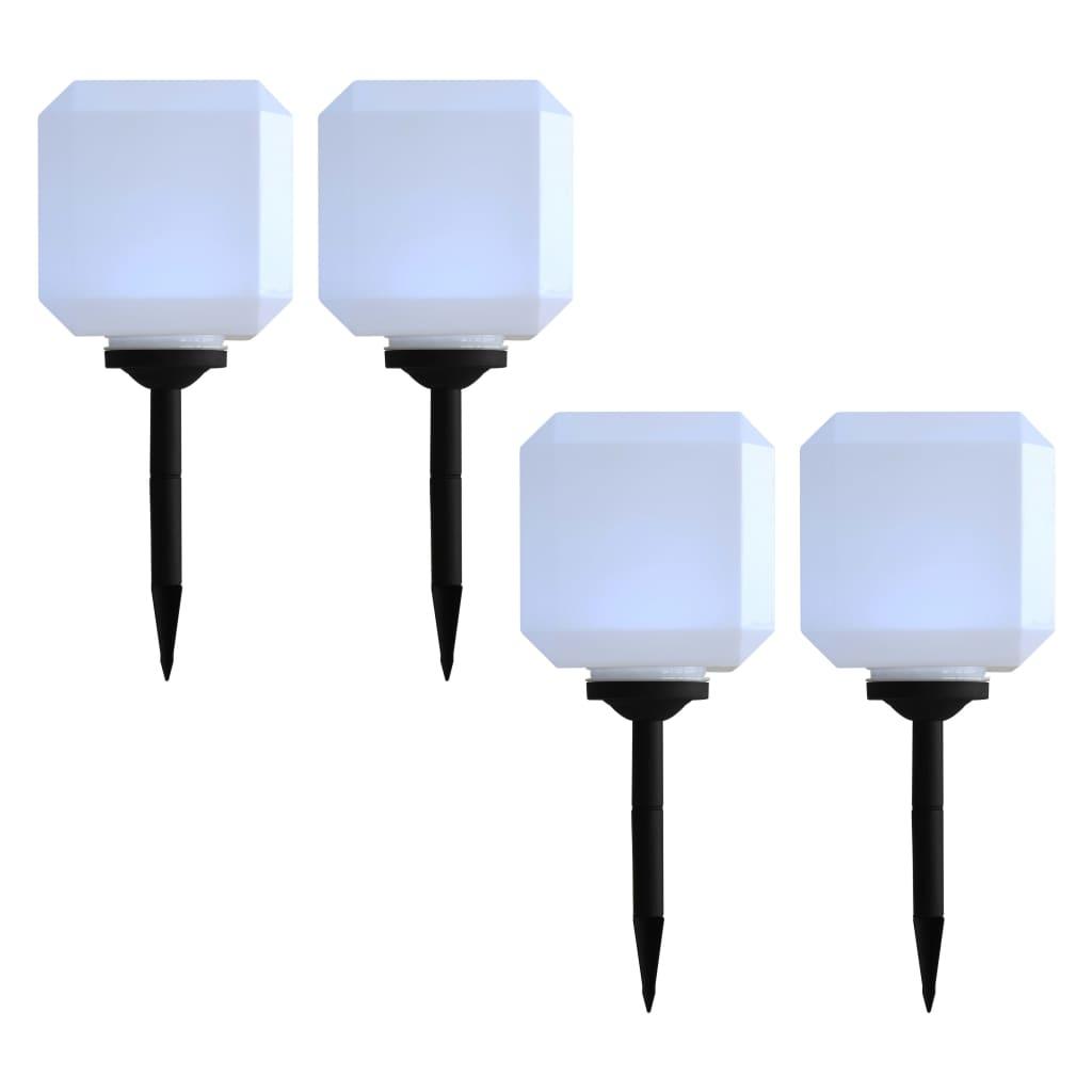 vidaXL Vonkajšie solárne lampy 4 ks biele 20 cm LED kubické