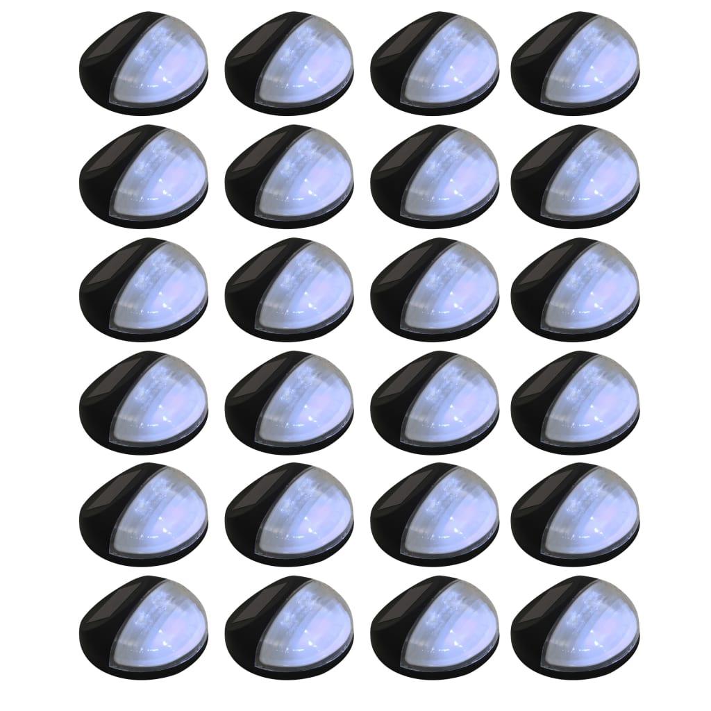 vidaXL Vonkajšie solárne nástenné LED svietidlá 24 ks okrúhle čierne