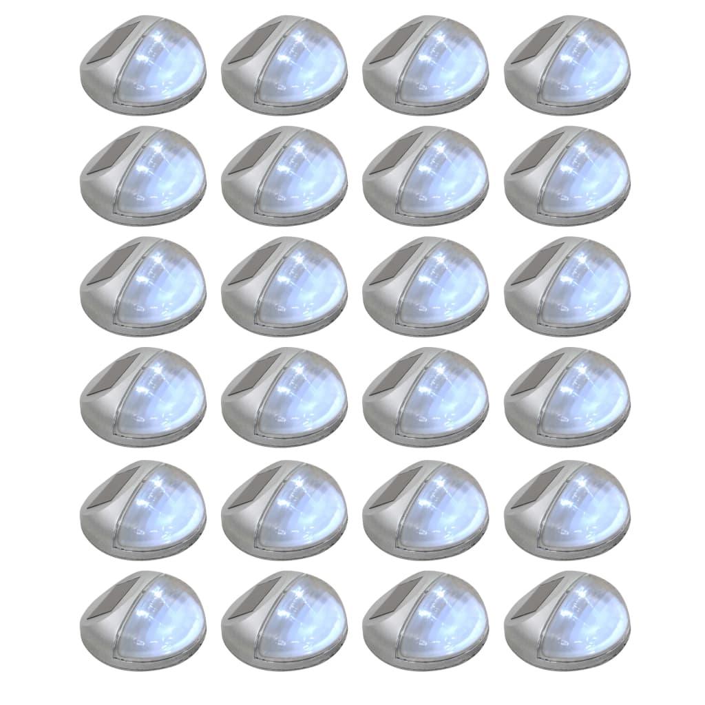 vidaXL Vonkajšie solárne nástenné LED lampy 24 ks okrúhle strieborné