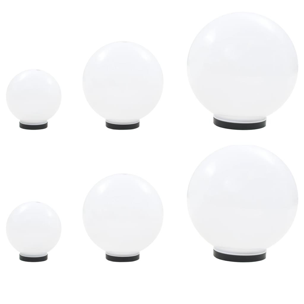 vidaXL Sada LED lámp v tvare gule 6 ks 20/30/40 cm PMMA