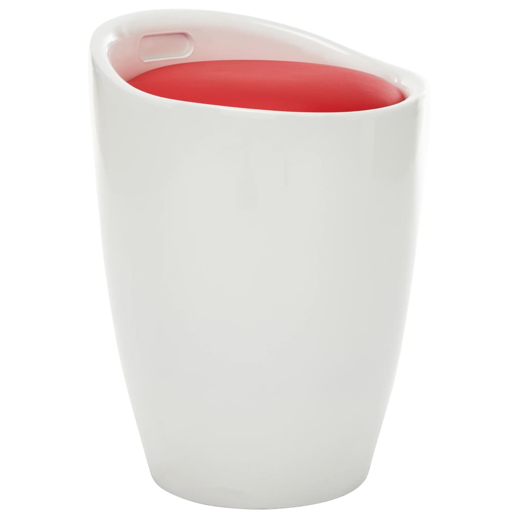 vidaXL Taburetka s úložným priestorom, bielo červená, umelá koža