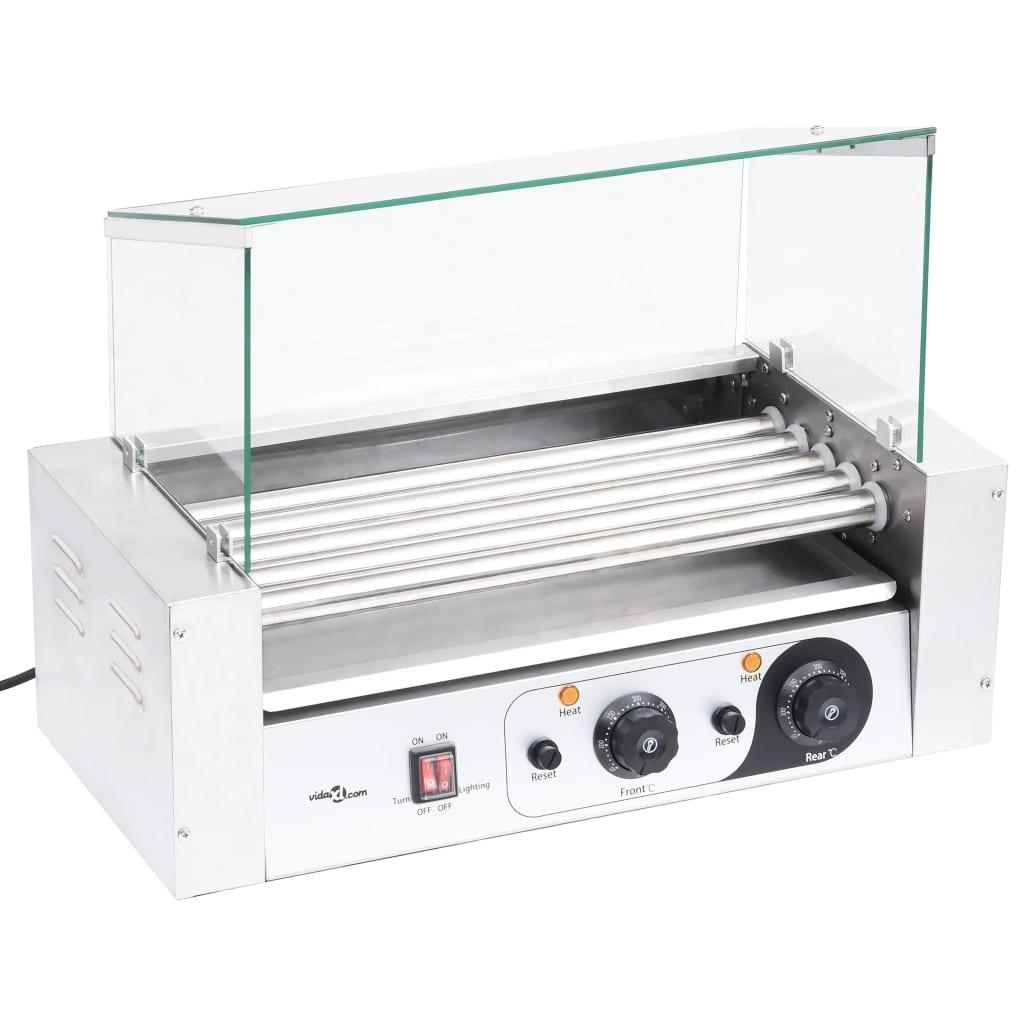 vidaXL Gril na párky s 5 valcami so skleneným krytom 1000 W