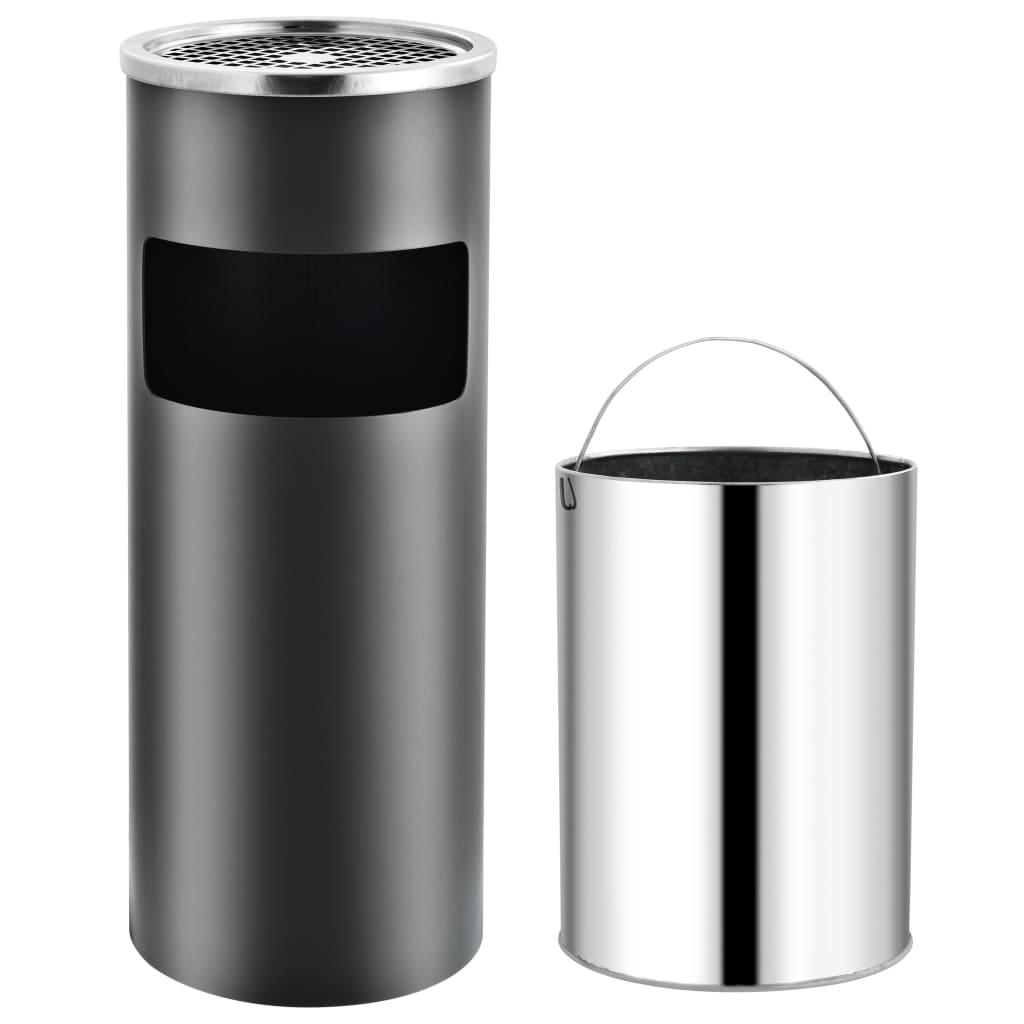 vidaXL Hotelový odpadkový kôš s popolníkom sivý oceľový 30 l