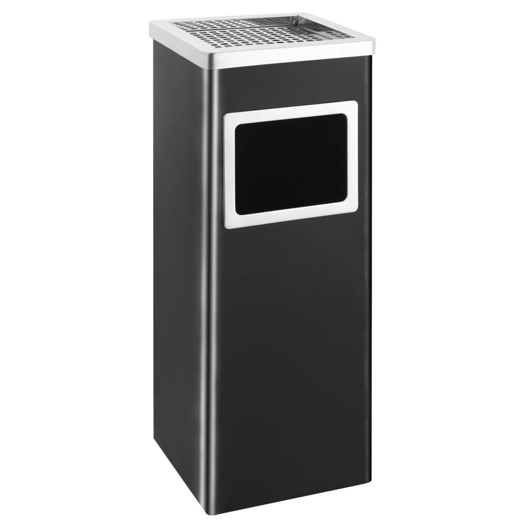 vidaXL Hotelový odpadkový kôš s popolníkom čierny oceľový 36 l