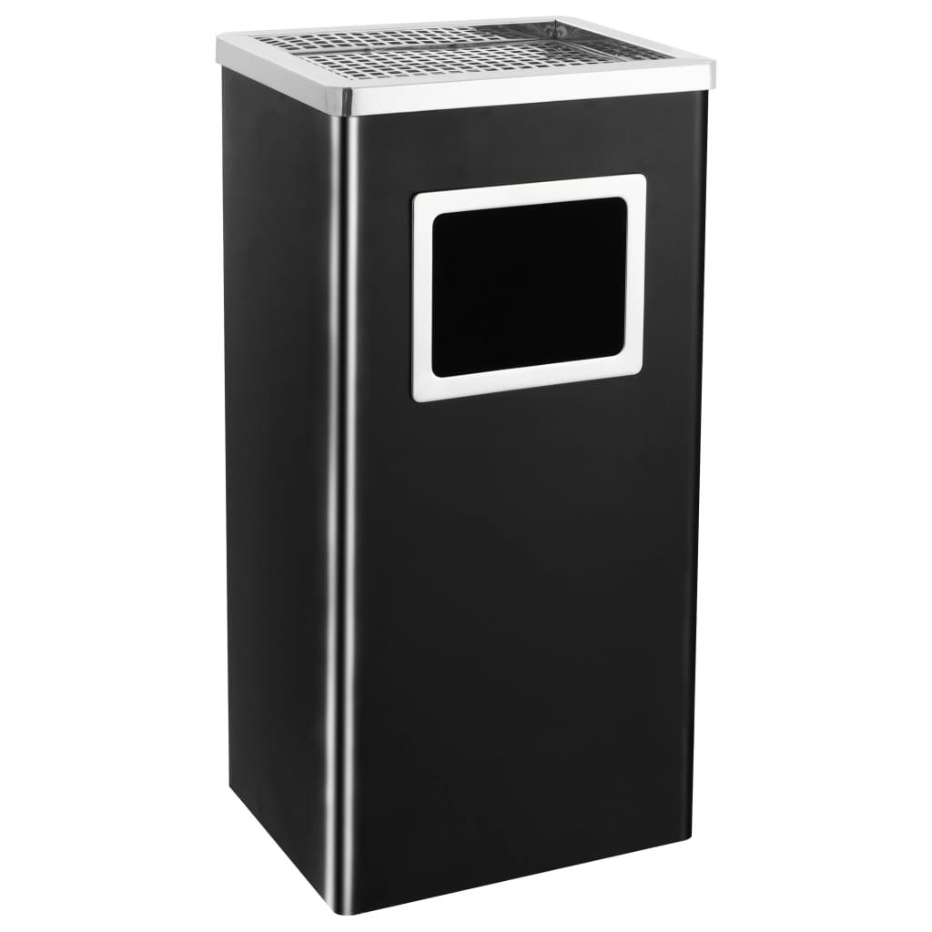 vidaXL Hotelový odpadkový kôš s popolníkom čierny oceľový 45 l