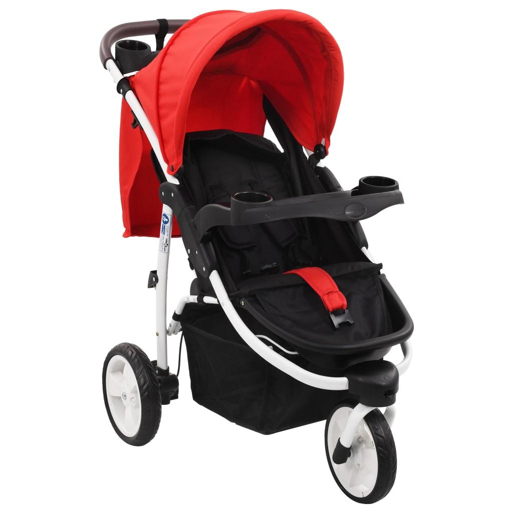vidaXL 3-kolesový detský kočík červený a čierny