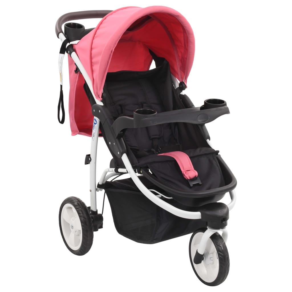 vidaXL 3-kolesový detský kočík ružový a čierny