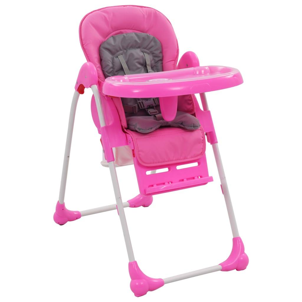 vidaXL Vysoká detská jedálenská stolička ružová a šedá