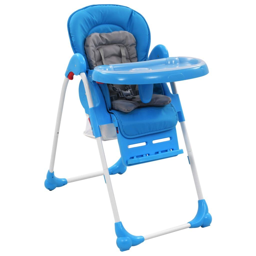 vidaXL Vysoká detská jedálenská stolička modrá a sivá