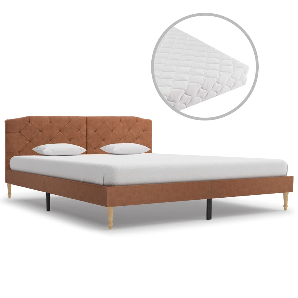vidaXL Posteľ s matracom, hnedá, látka 160x200 cm