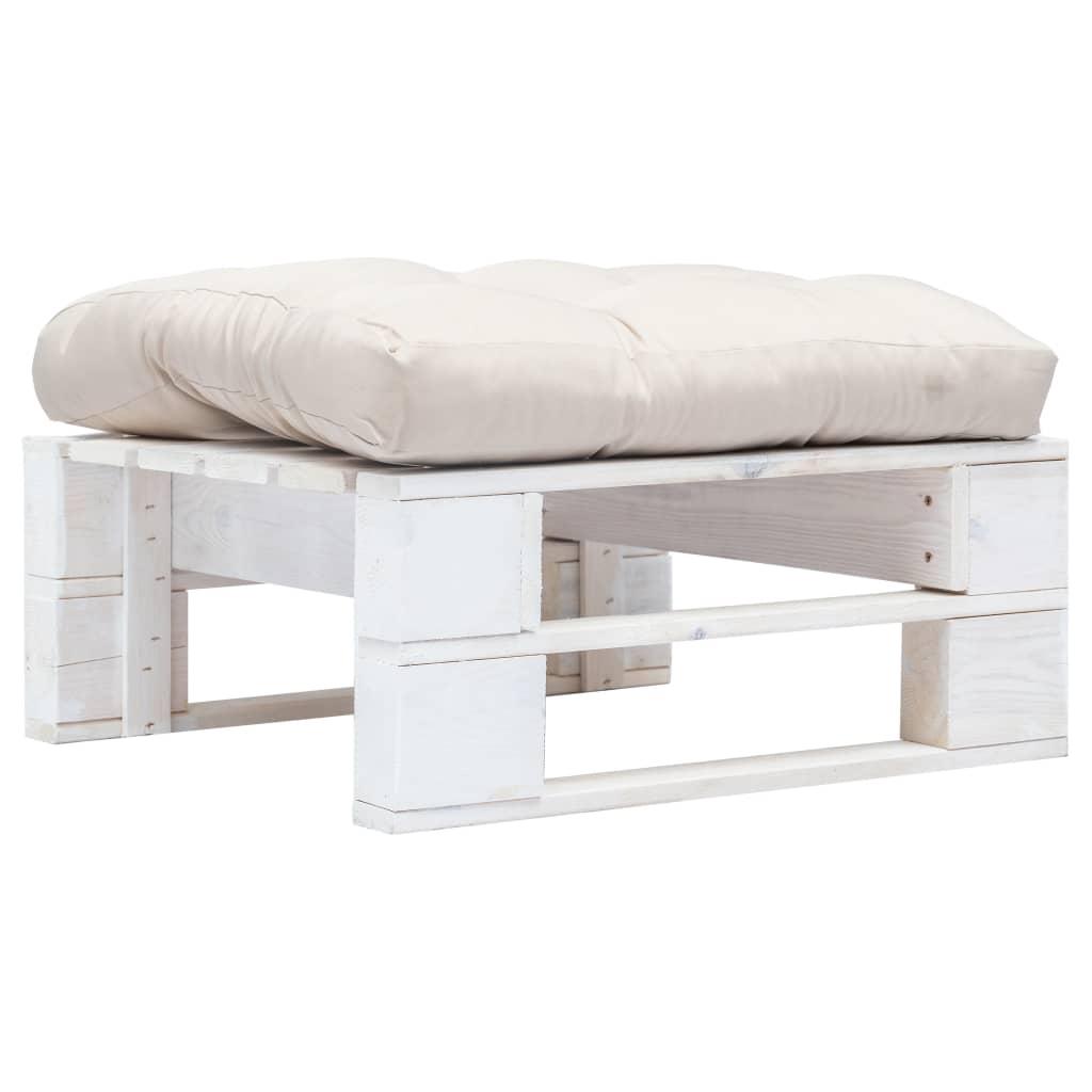 vidaXL Záhradný biely paletový otoman s pieskovým vankúšom FSC drevo