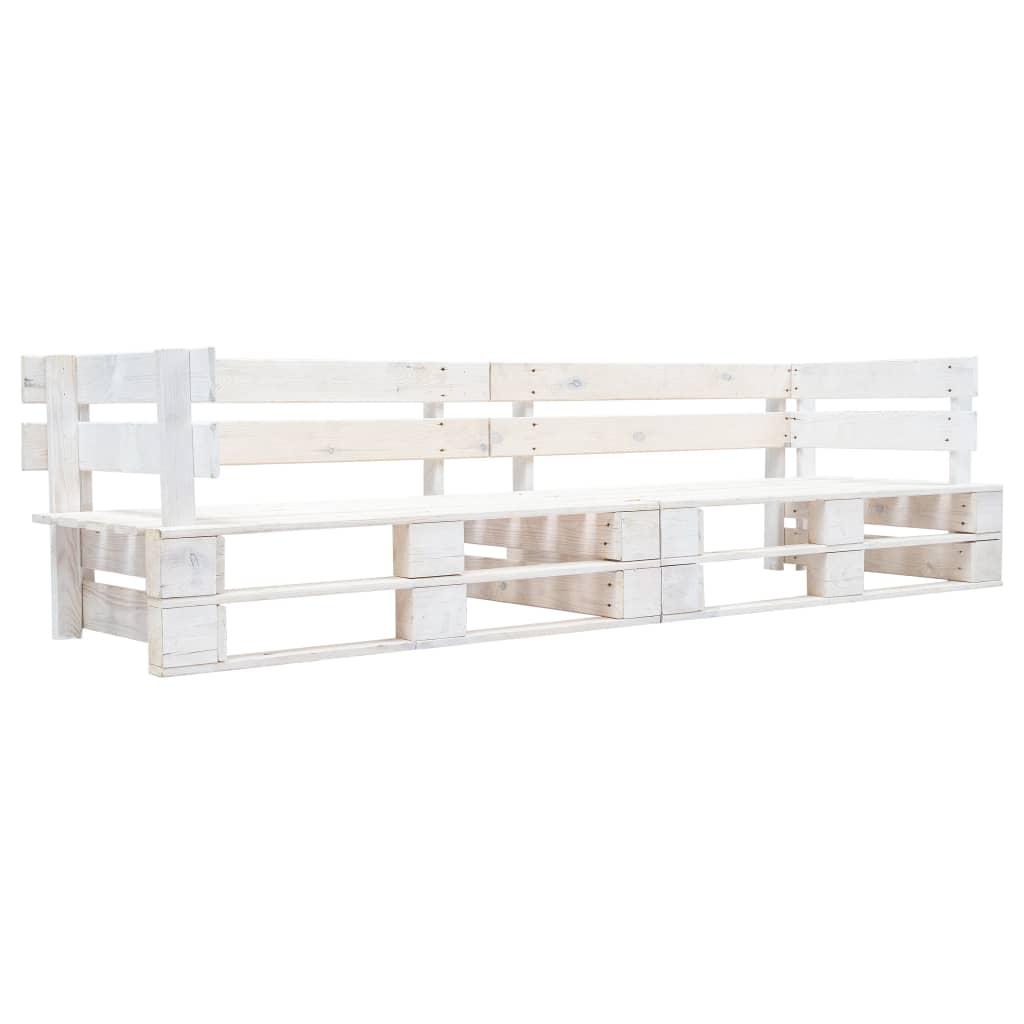 vidaXL 2-miestna záhradná paletová sedačka biela FSC drevo