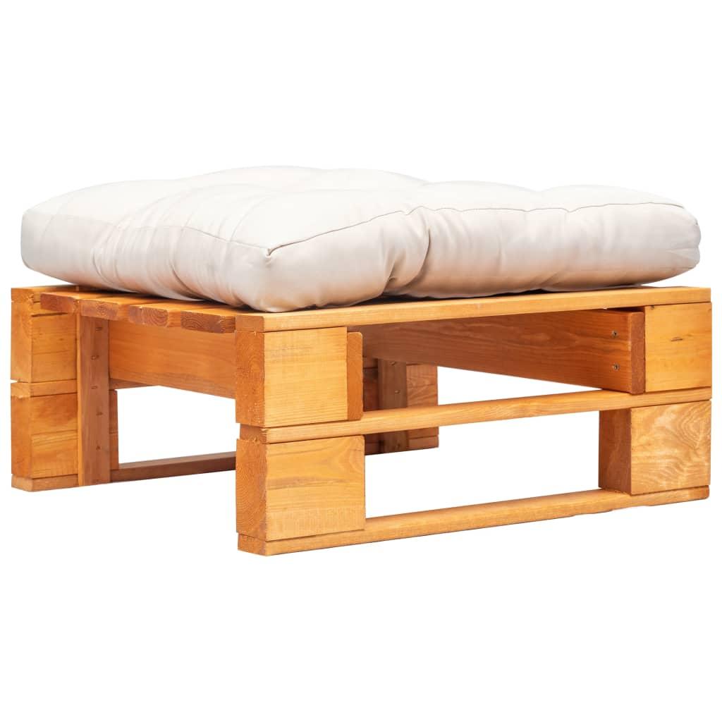 vidaXL Záhradný paletový otoman pieskový vankúš medovo-hnedý FSC drevo