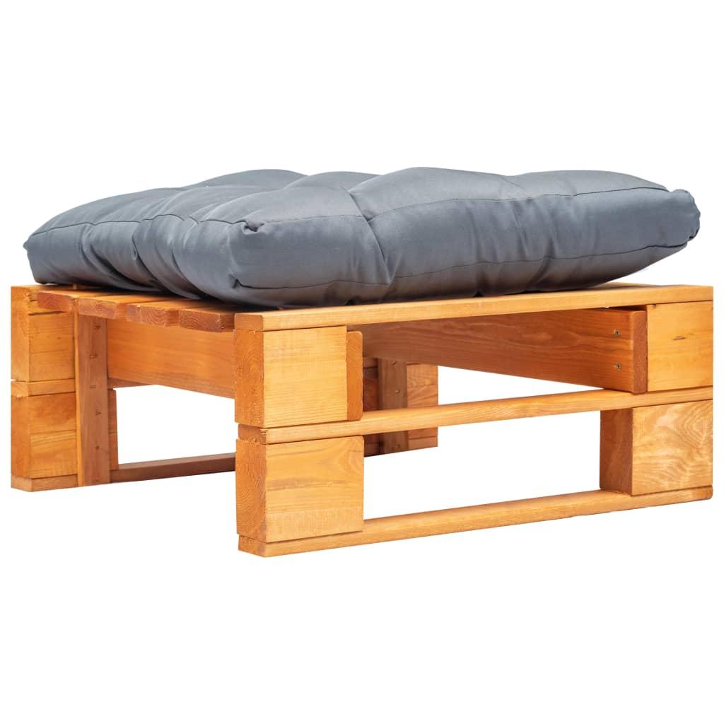 vidaXL Záhradný paletový otoman sivý vankúš medovo-hnedý FSC drevo