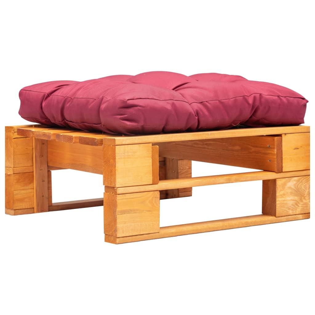 vidaXL Záhradný paletový otoman červený vankúš medovo-hnedý FSC drevo
