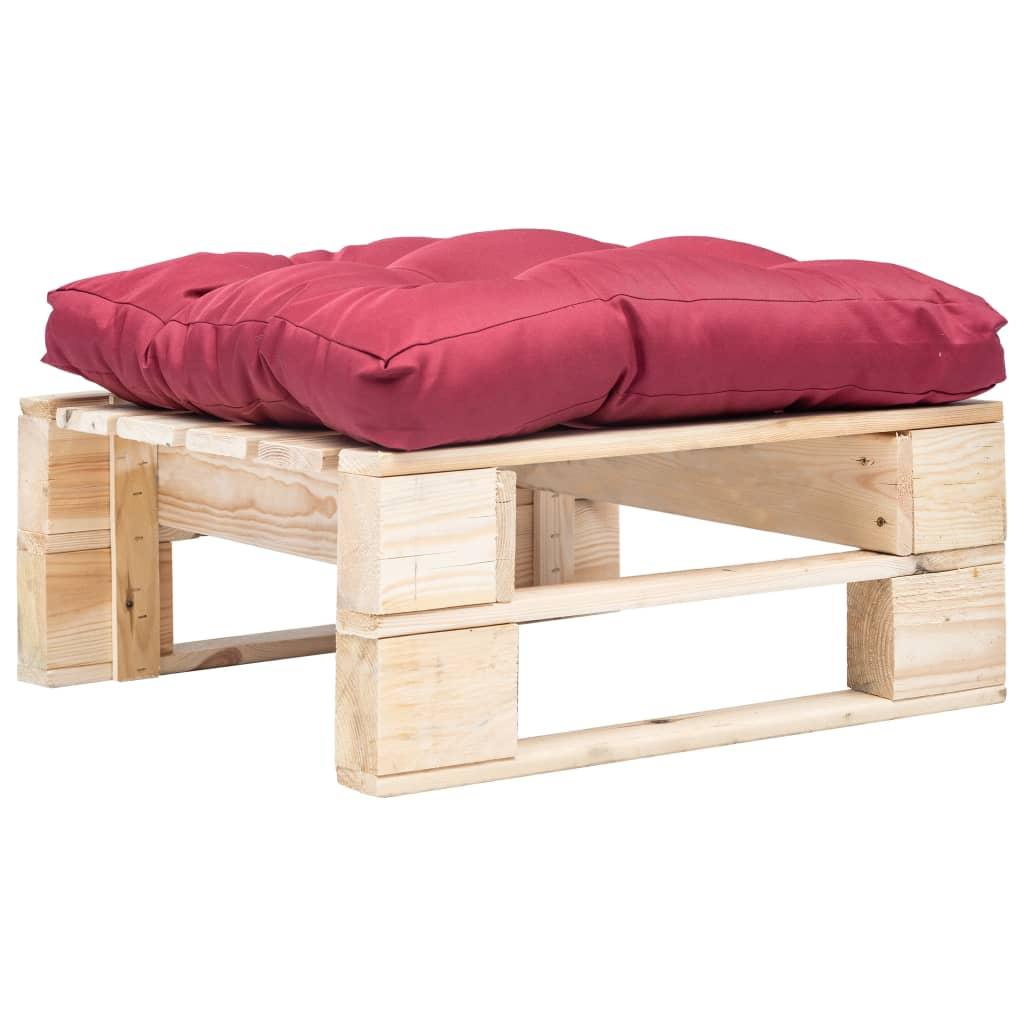 vidaXL Záhradný paletový otoman s červeným vankúšom FSC drevo