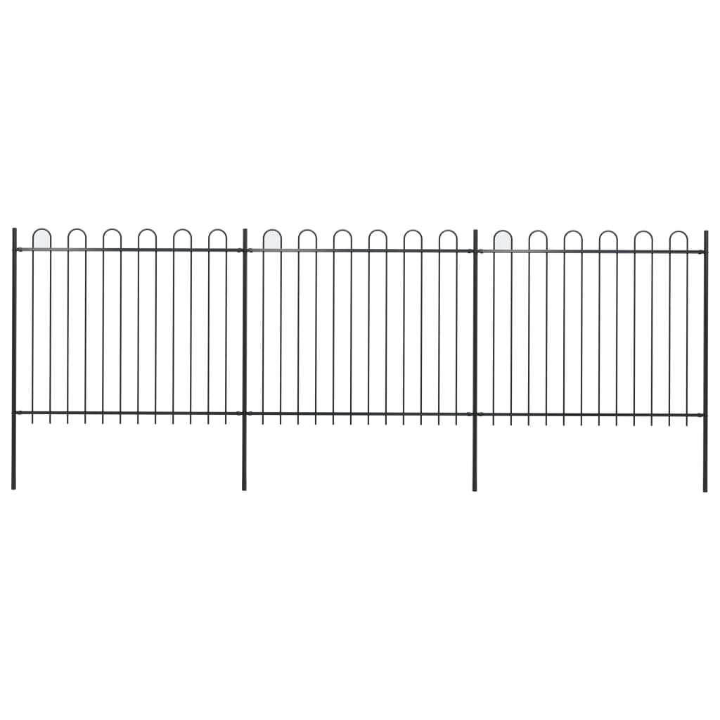 vidaXL Záhradný plot s oblúkovým zakončením, oceľ 5,1x1,5 m, čierny