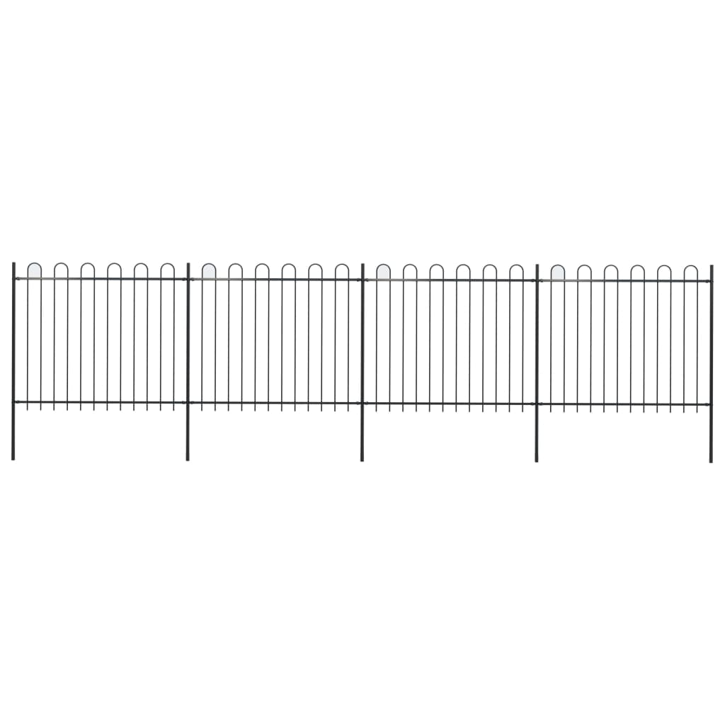 vidaXL Záhradný plot s oblúkovým zakončením, oceľ 6,8x1,5 m, čierny