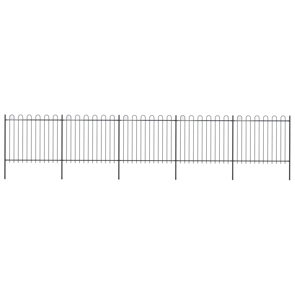 vidaXL Záhradný plot s oblúkovým zakončením, oceľ 8,5x1,5 m, čierny