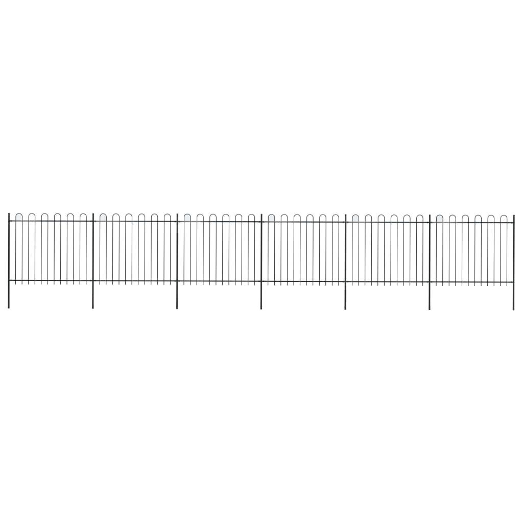vidaXL Záhradný plot s oblúkovým zakončením, oceľ 10,2x1,5 m, čierny