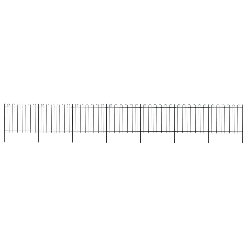 vidaXL Záhradný plot s oblúkovým zakončením, oceľ 11,9x1,5 m, čierny