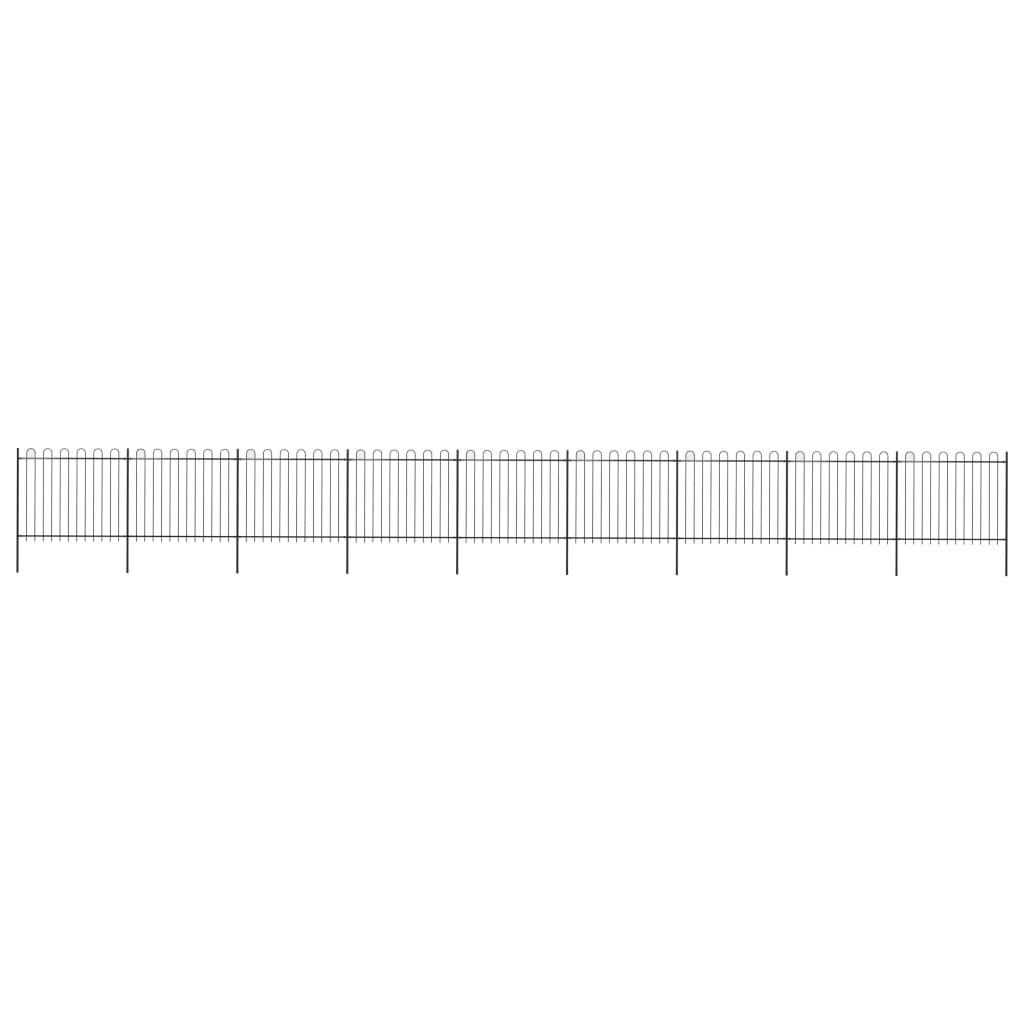 vidaXL Záhradný plot s oblúkovým zakončením, oceľ 15,3x1,5 m, čierny