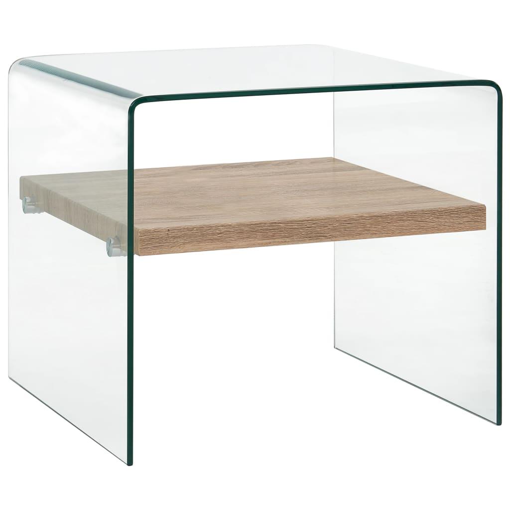 vidaXL Konferenčný stolík priehľadný 50x50x45 cm tvrdené sklo