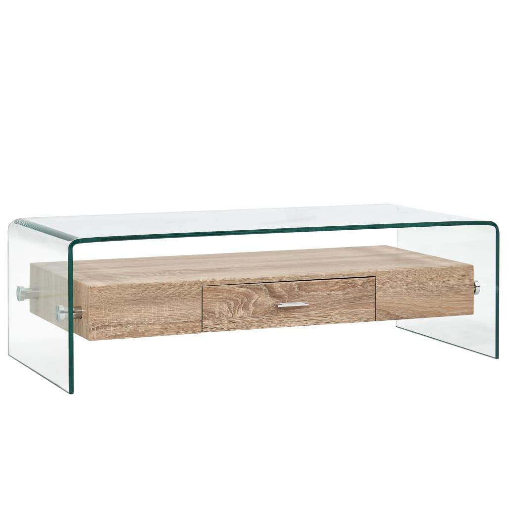 vidaXL Konferenčný stolík priehľadný 98x45x31 cm tvrdené sklo