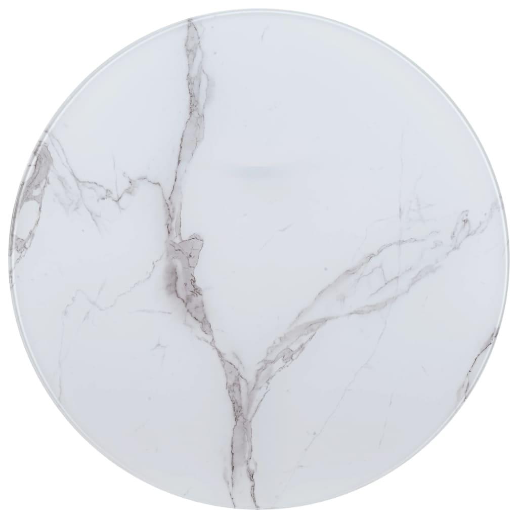vidaXL Stolová doska, biela Ø90 cm, sklo s mramorovou textúrou