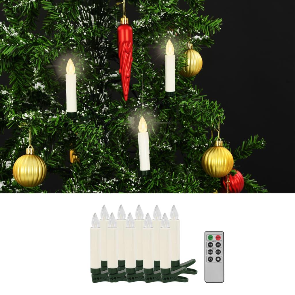 vidaXL Bezdrôtové LED sviečky s diaľkovým ovládaním 10 ks teplá biela farba
