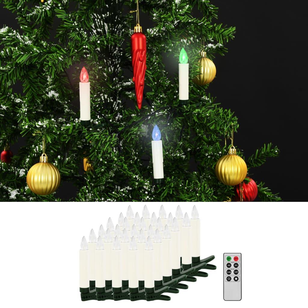 vidaXL Vianočné bezdrôtové LED sviečky s diaľkovým ovládaním 30 ks RGB