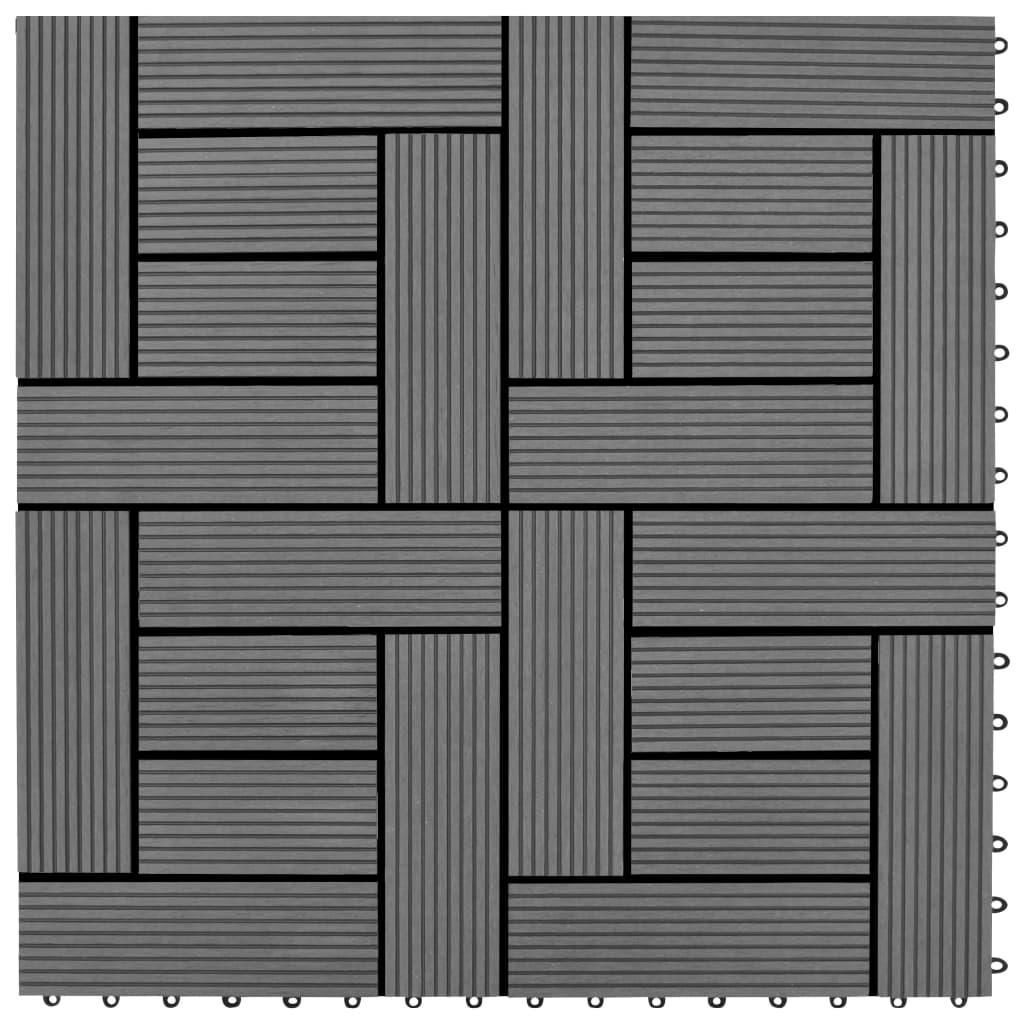 vidaXL Podlahové dlaždice 22 ks, 30x30 cm, 2 m2, WPC, sivé