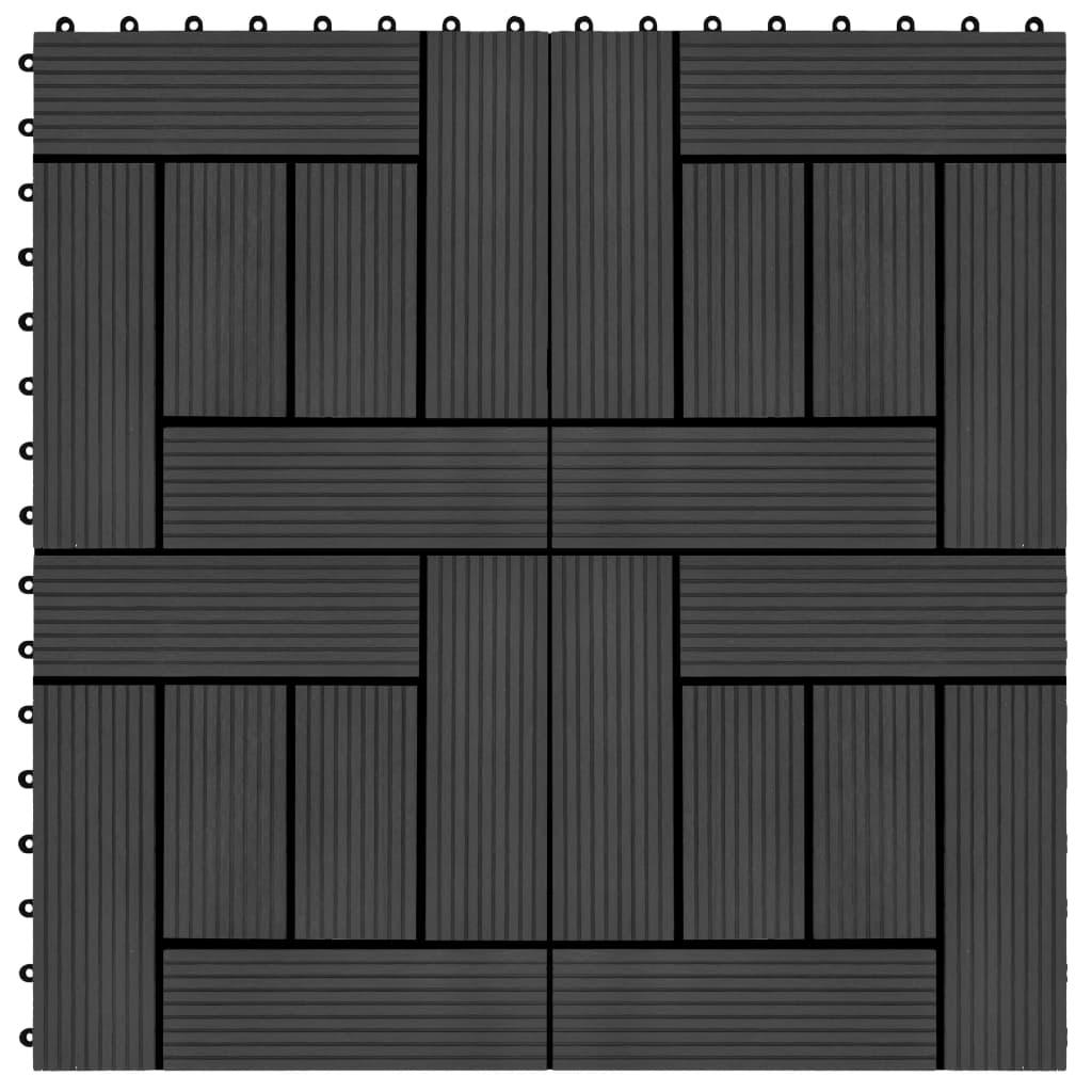 vidaXL Podlahové dlaždice 22 ks, 30x30 cm, 2 m2, WPC, čierne