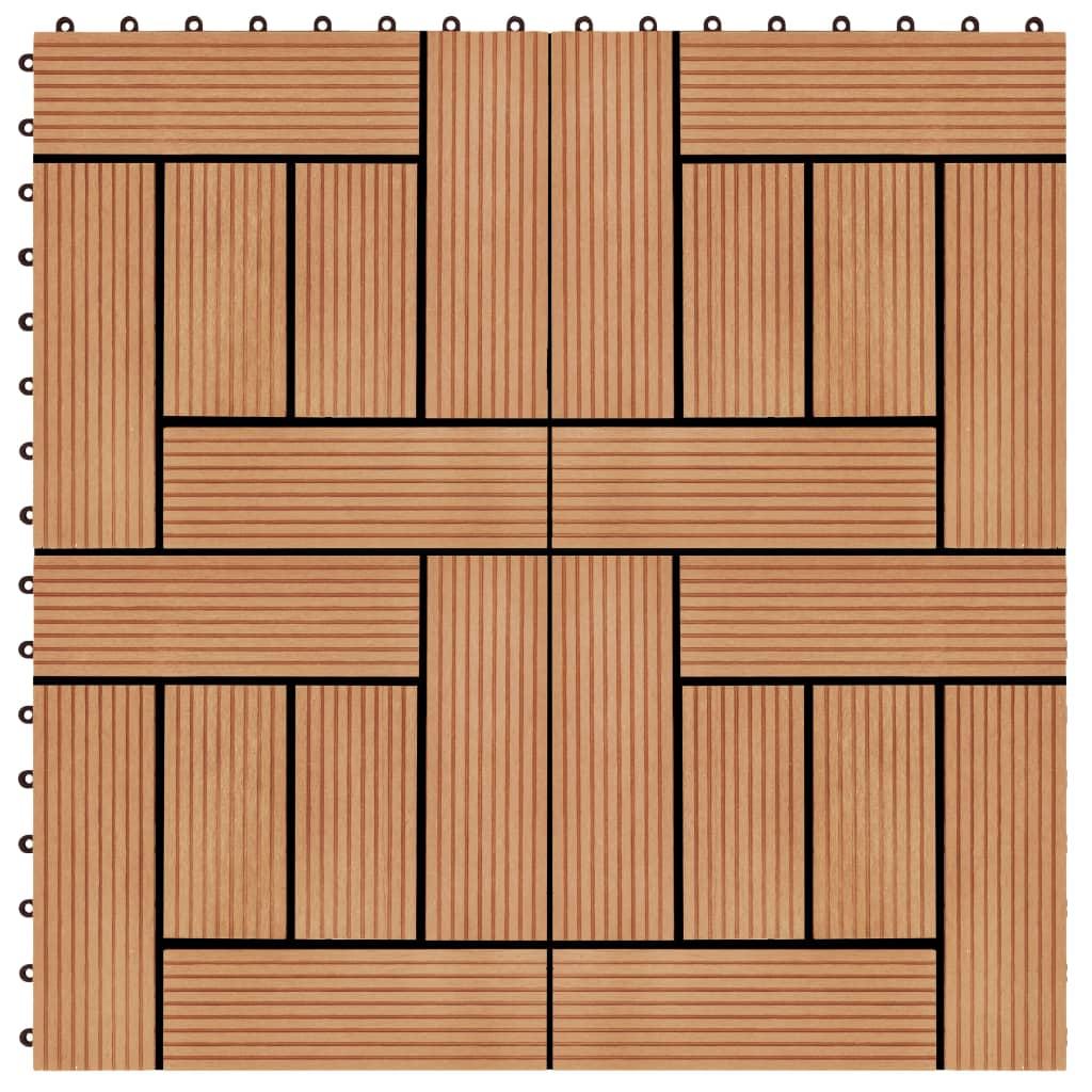 vidaXL Podlahové dlaždice 22 ks, 30x30 cm, 2 m2, WPC, tíková farba