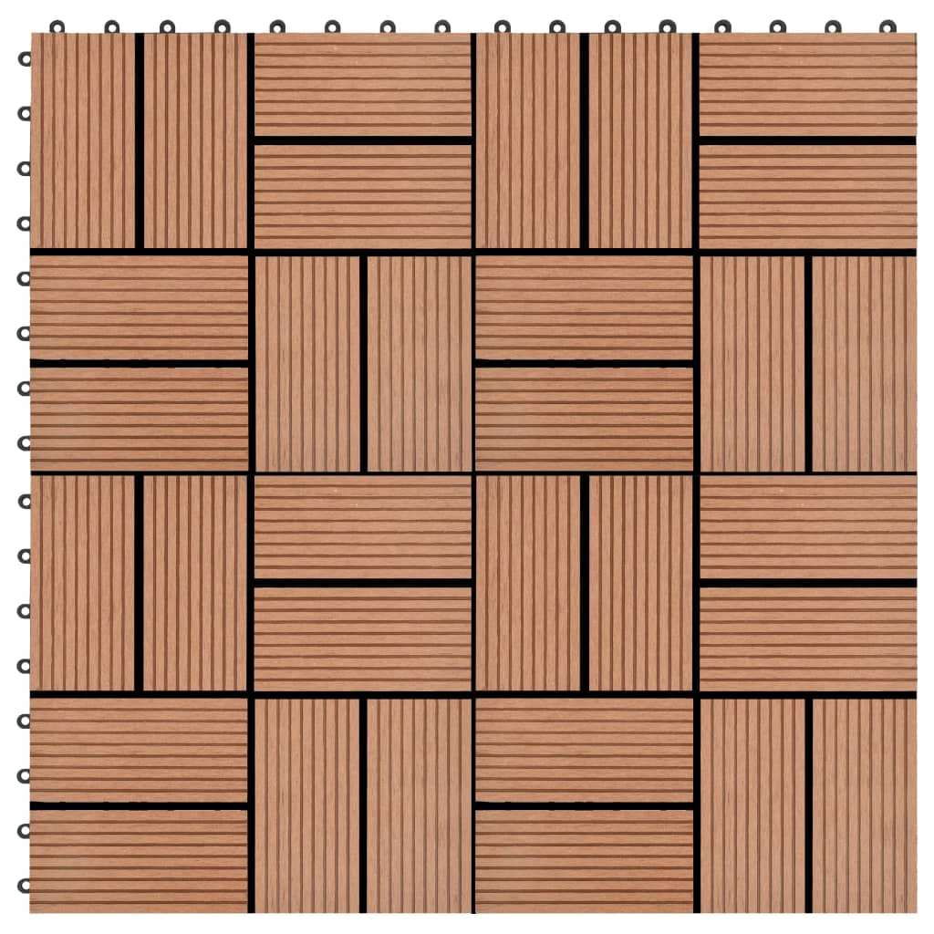 vidaXL Podlahové dlaždice 22 ks, 30x30 cm, 2 m2, WPC, hnedé