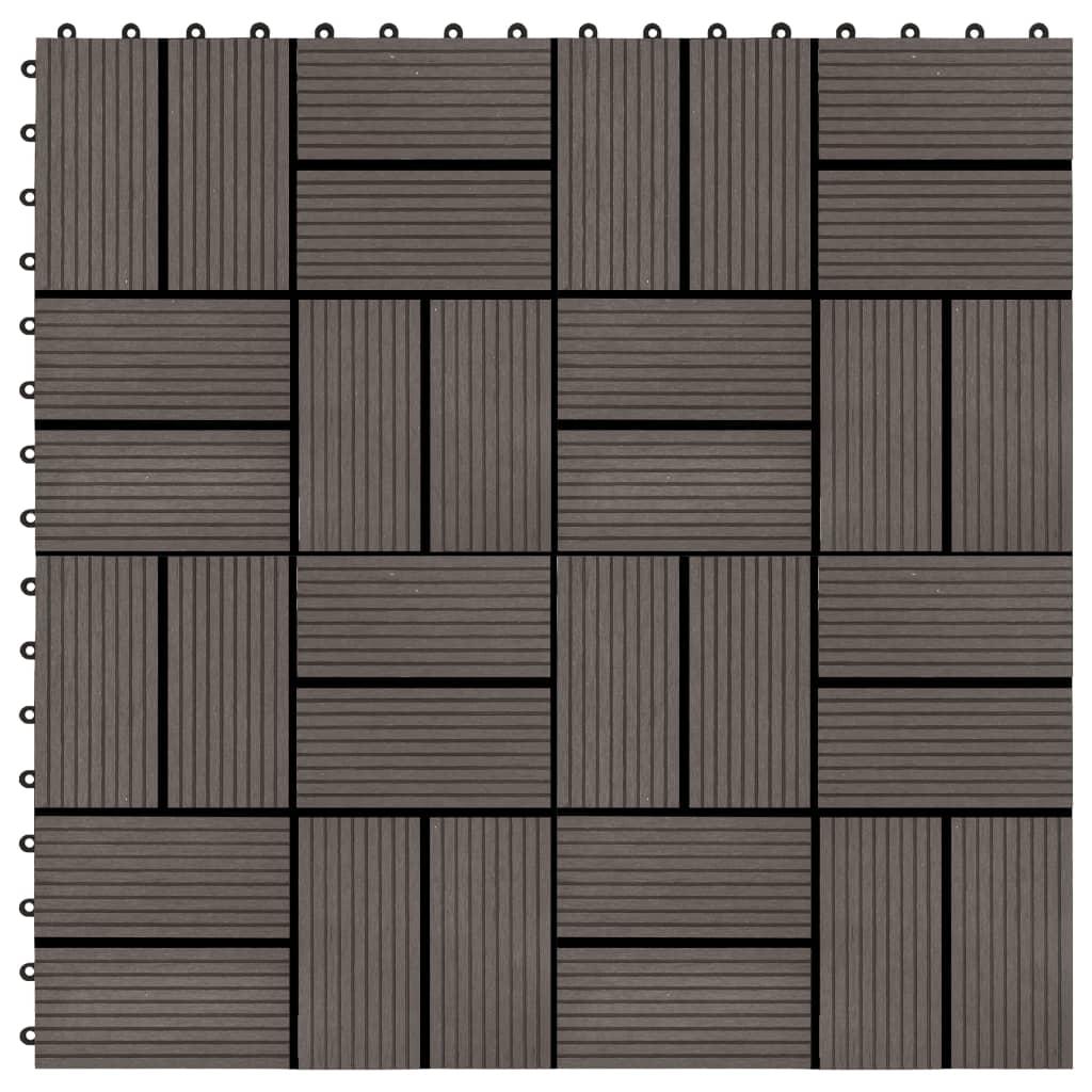 vidaXL Podlahové dlaždice 22 ks, 30x30 cm, 2 m2, WPC, tmavohnedé